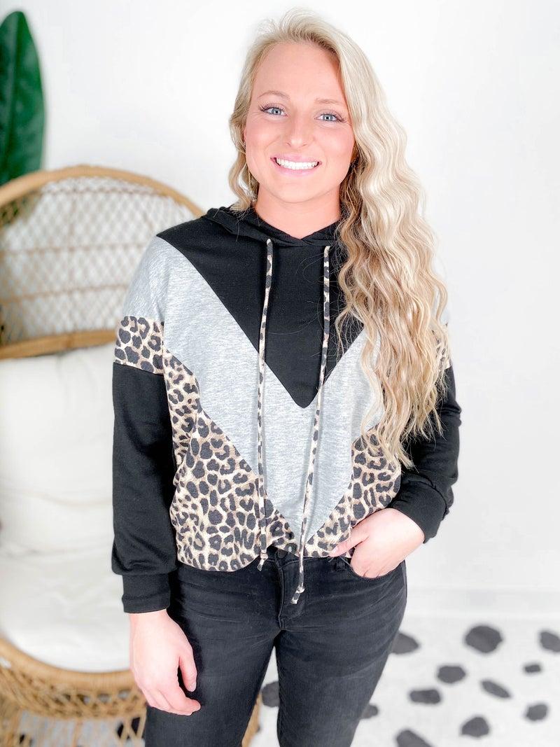 PLUS/REG Chevron Color Block Leopard Hooded Top