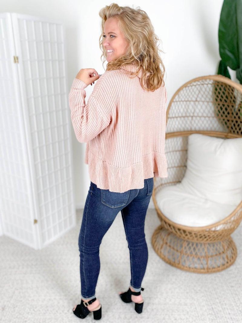 Turtleneck Rib Knit Sweater with Flounce Hem (Multiple Colors)