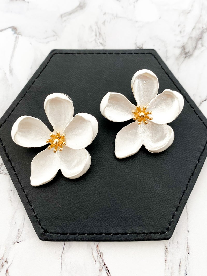 Gorgeous Painted Flower Stud Earrings with Gold Detail