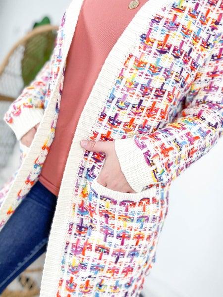 Multi Color Open Front Knit Cardigan (Multiple Colors)