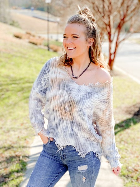 Cropped  V Neck Tie Dye Sweater Top With Distress Detail