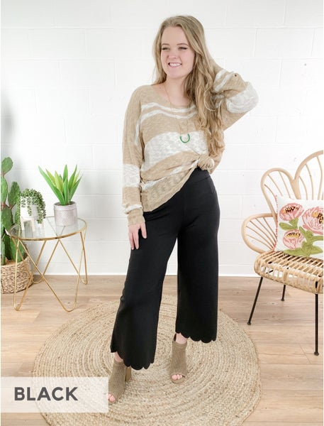 PLUS/REG DOORBUSTER Every day of the Week Heavy Ponte High Rise Scallop Crop Pants (Multiple Colors)