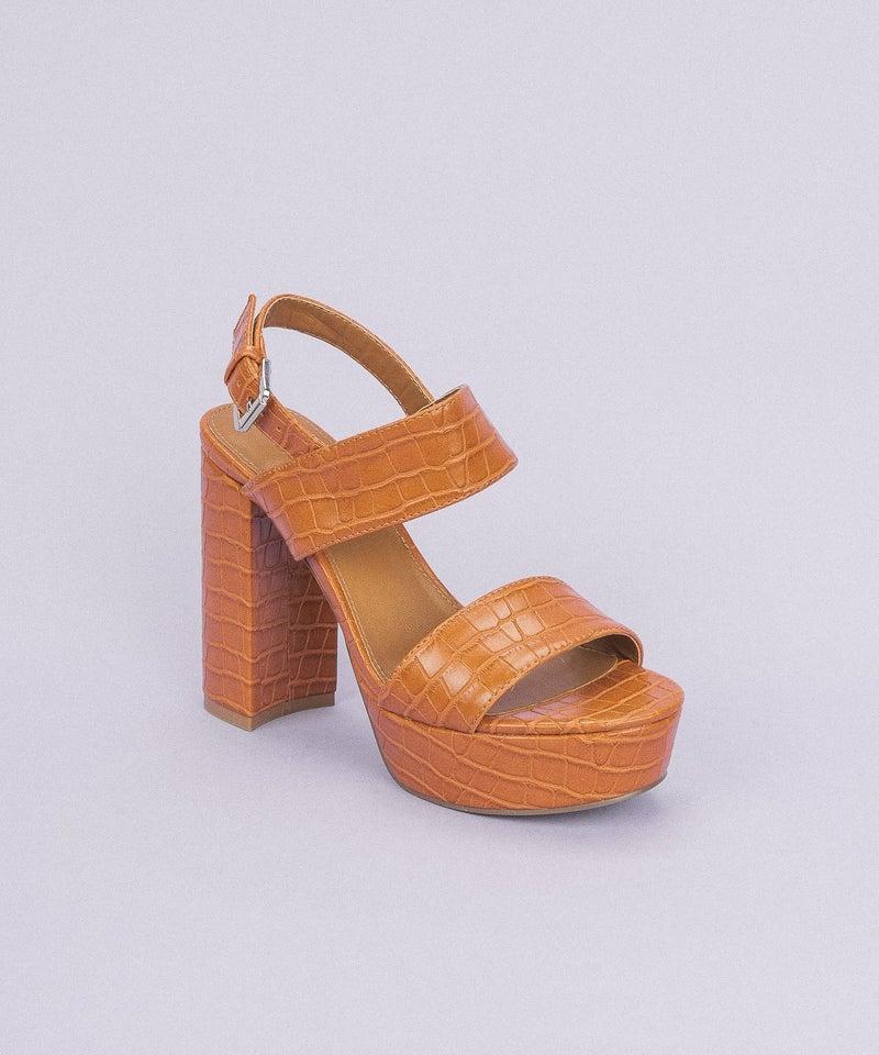 Camel Crocodile Print Platform Heels