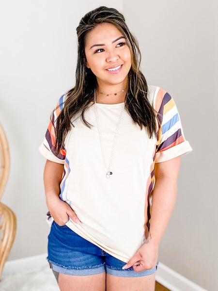 Short Sleeve Knit Top With Vertical Multi Stripes (Multiple Colors)