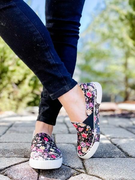 Black Floral Low Top Slip On Sneakers
