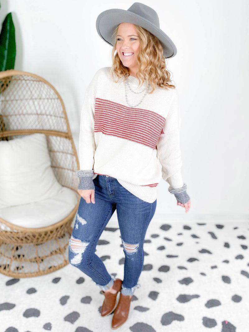 Mixed Stripe Rib Knit Sweater