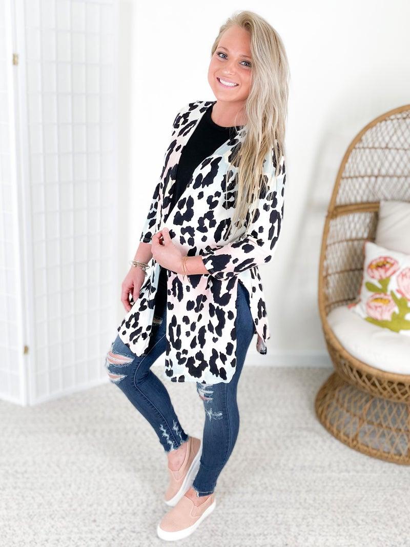 PLUS/REG 3/4 Sleeve Leopard Kimono Cardigan
