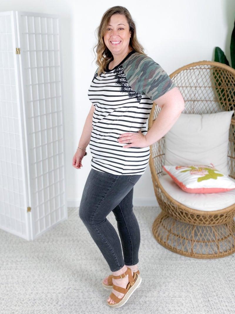 PLUS/REG Stripe Top with Camo Raglan Sleeves & Lace Detail