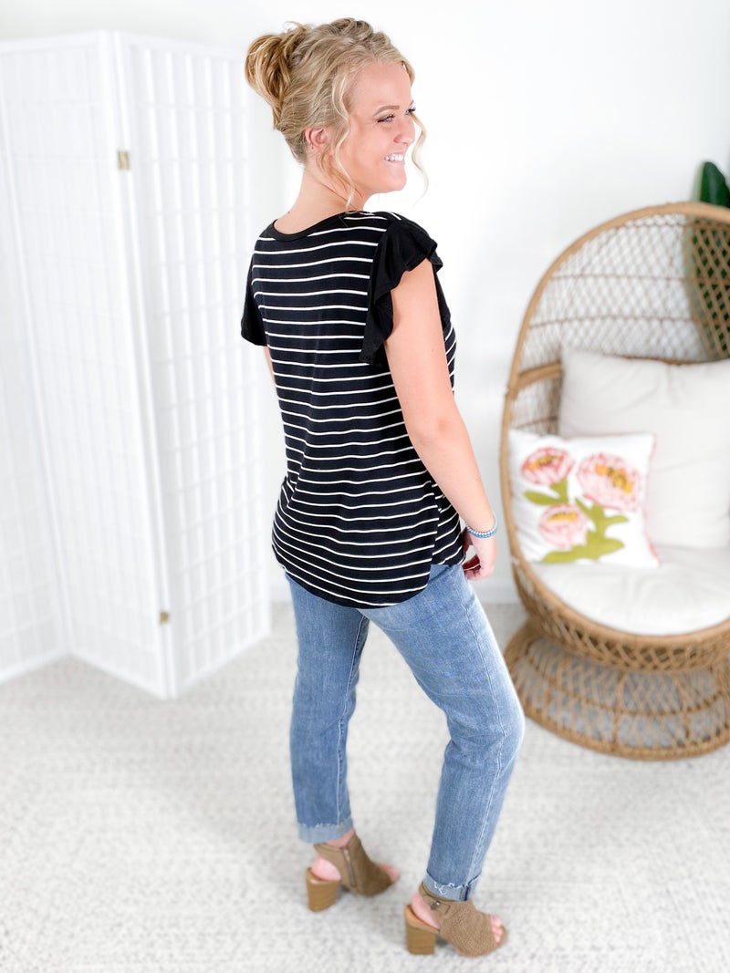 Black & Thin White Stripe Ruffle Sleeve Top