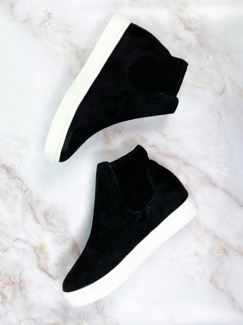 High Top Pull on Sneakers with White Sole (Multiple Colors)