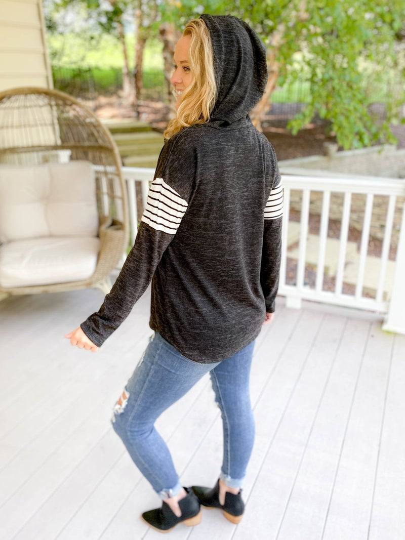 DOORBUSTER PLUS/REG Stripe Contrast French Terry Top with Hood (Multiple Colors)