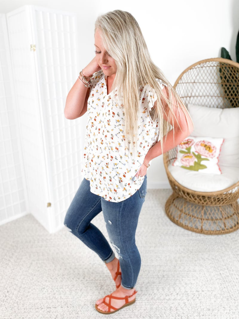 Floral Sleeveless Top with Ruffle Details (Multiple Colors)