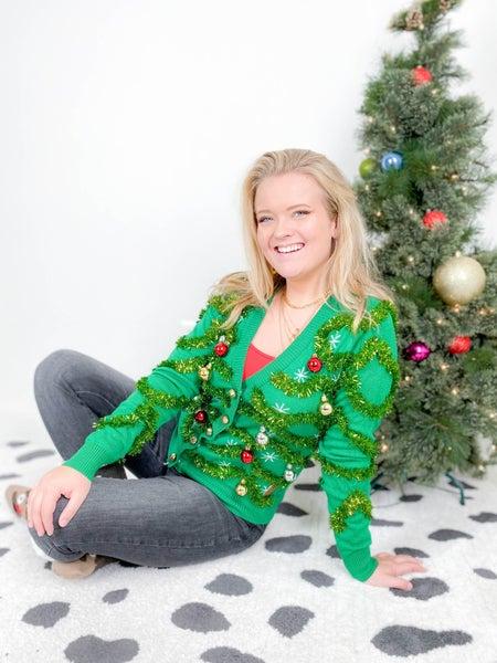 PLUS/REG Women's Gaudy Garland Christmas Sweater