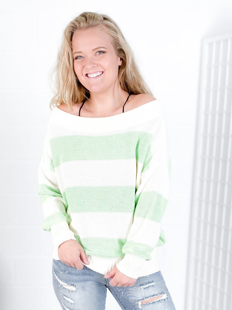 Mint Color Block Striped Pullover Sweater