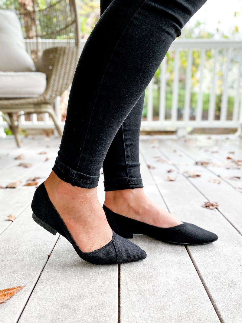 Black Fly Knit Pointed Flat