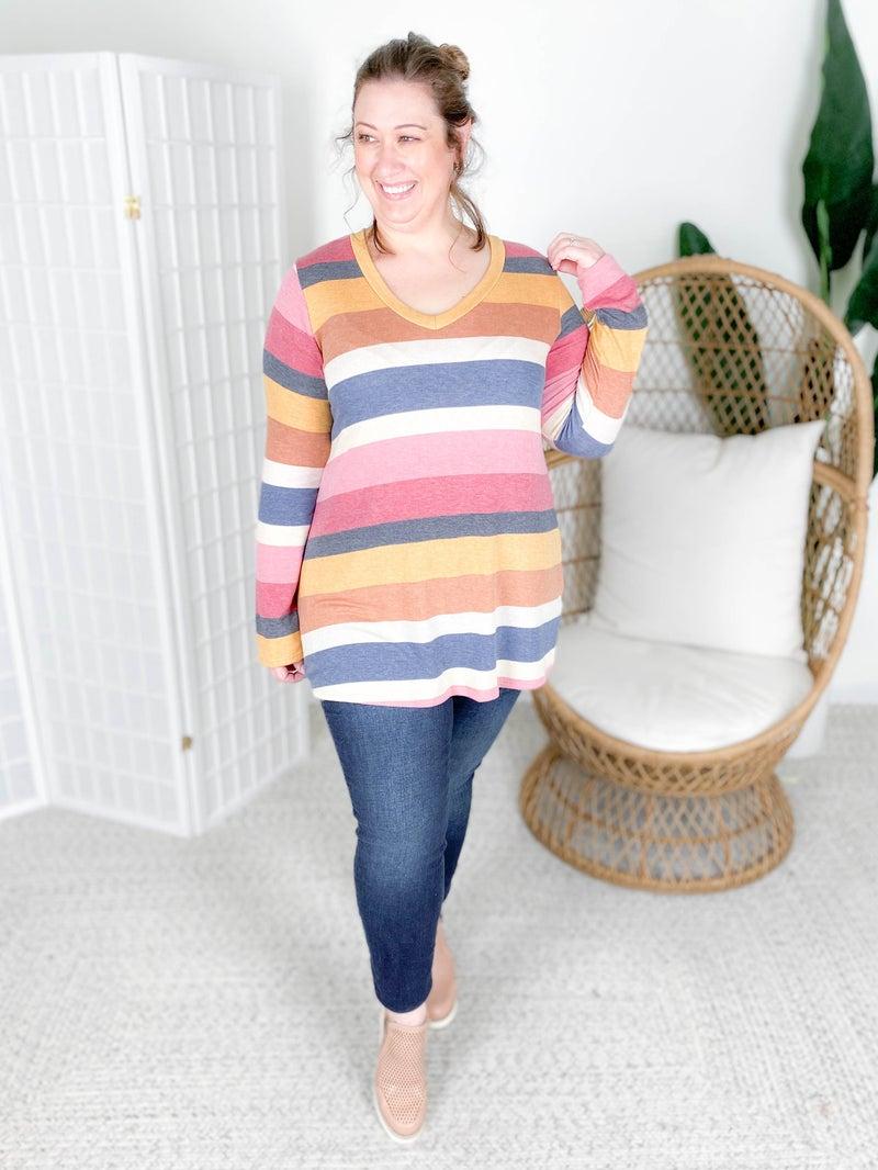 PLUS/REG Autumn Stripe Long Sleeve Top
