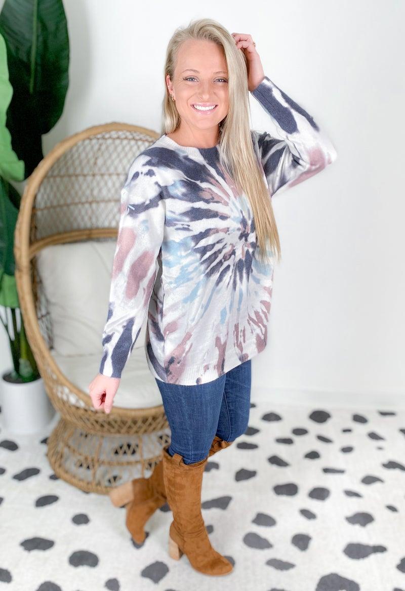 Mauve & Charcoal Tie Dye Sweater Top