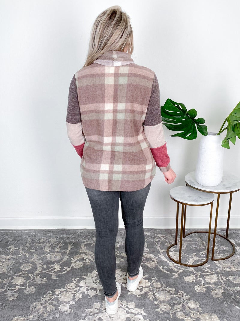 Fleece Plaid Sweater With Cowl Neck