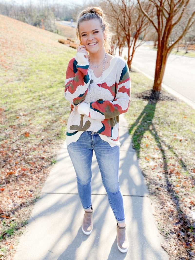 Camo V Neck Knit Sweater