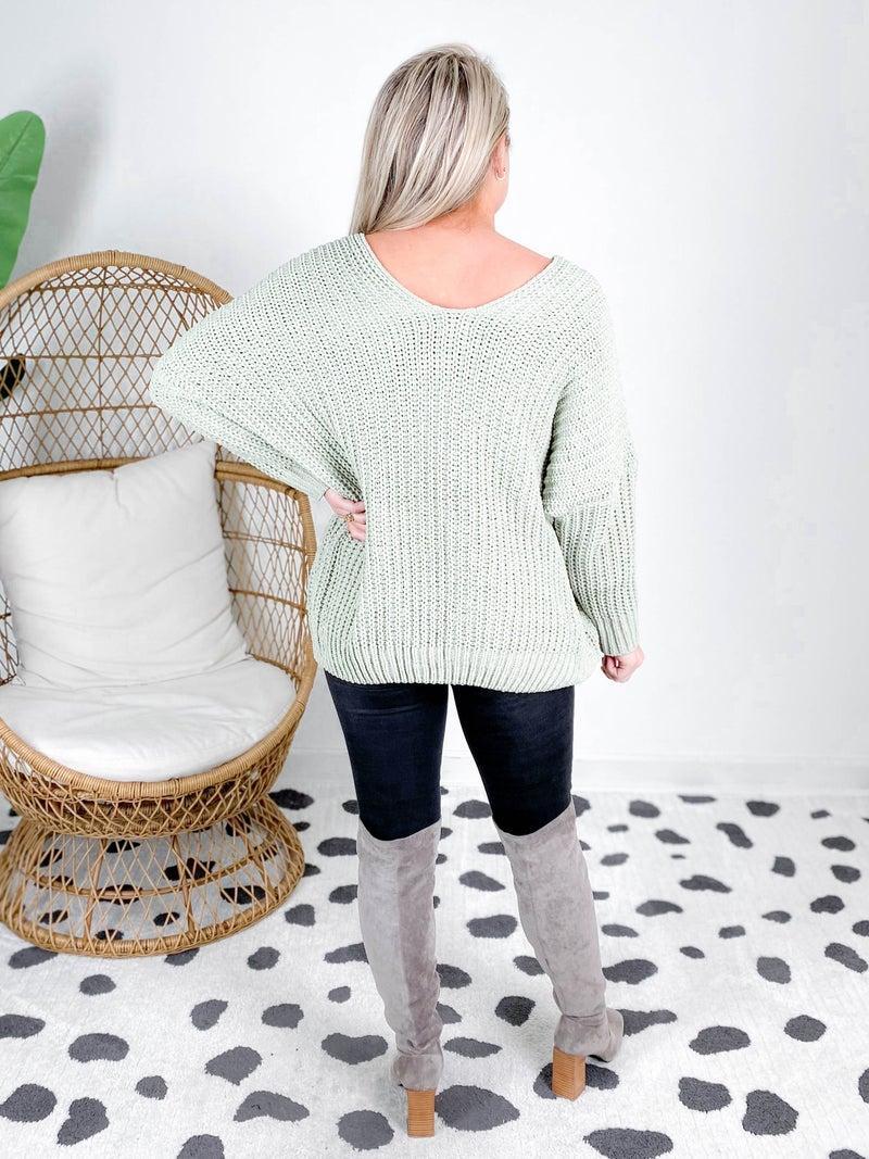 POL Ribbed Knit Sage Sweater