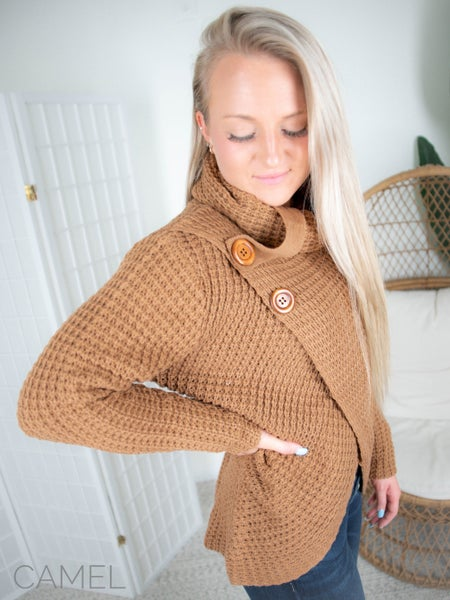 Door Buster!! Zenana Molly Wrap Sweater with Button Detail (Multiple Colors)