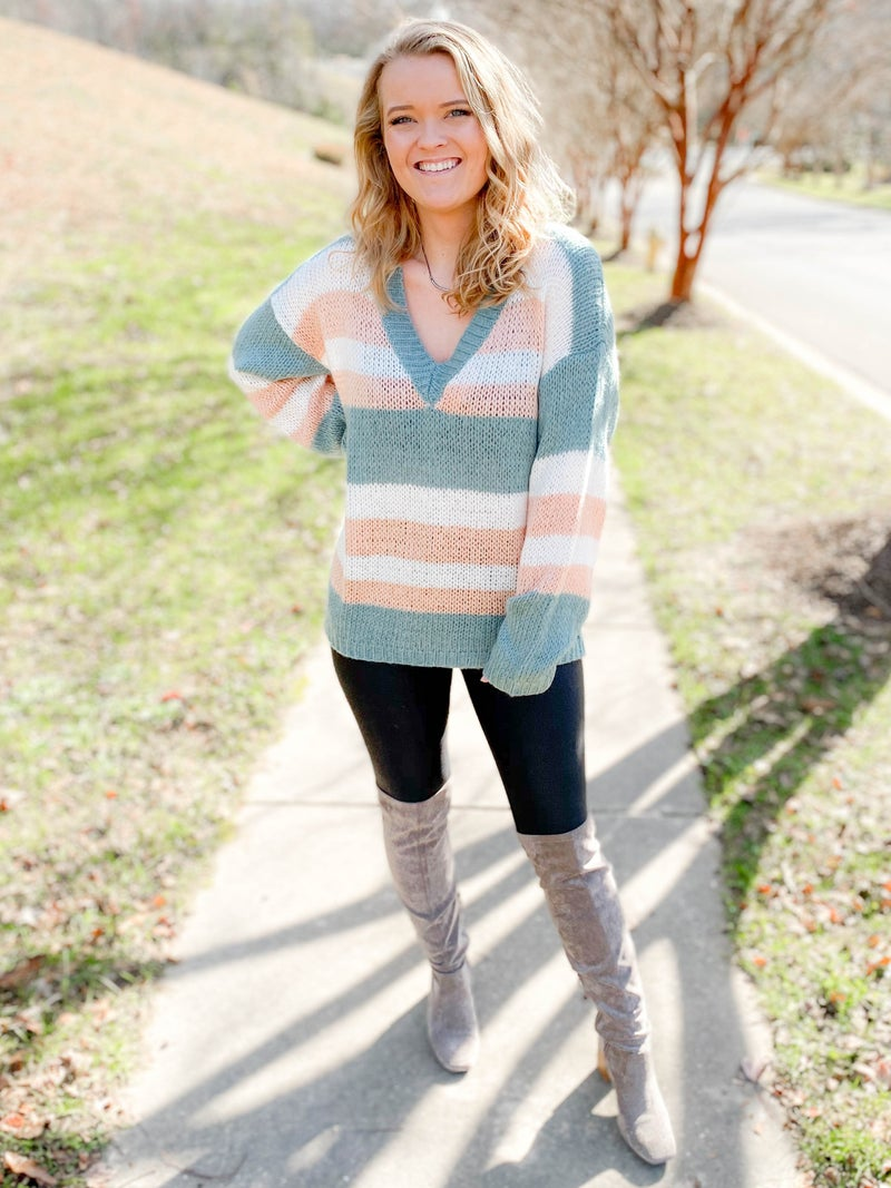 Multi Color Stripe V Neck Sweater (Multiple Colors)