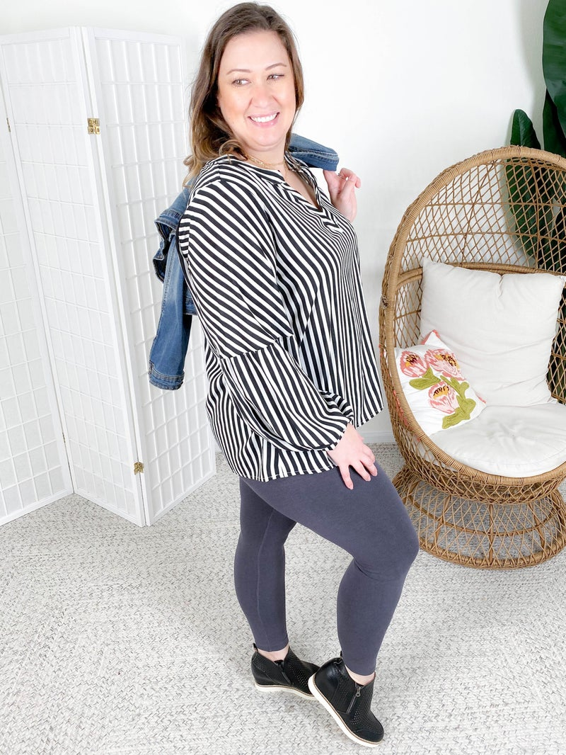 Black & White Stripe Blouse with Balloon Sleeves