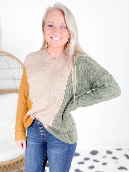 PLUS/REG Taupe Color Block V Neck Sweater