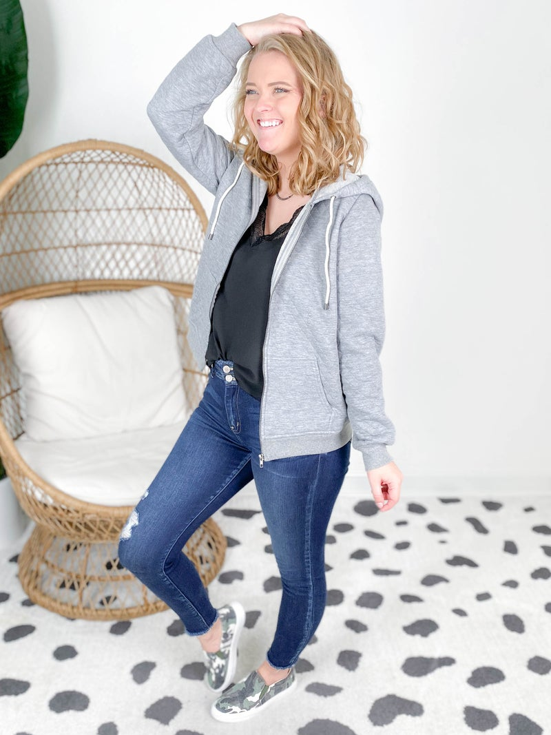 French Terry Jacket With Drawstring Hood (Multiple Colors)