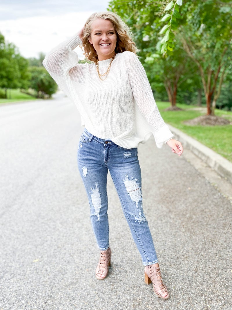 PLUS/REG  Hey Girl Hey Girlfriend Judy Blue Distressed Relaxed Fit Jeans