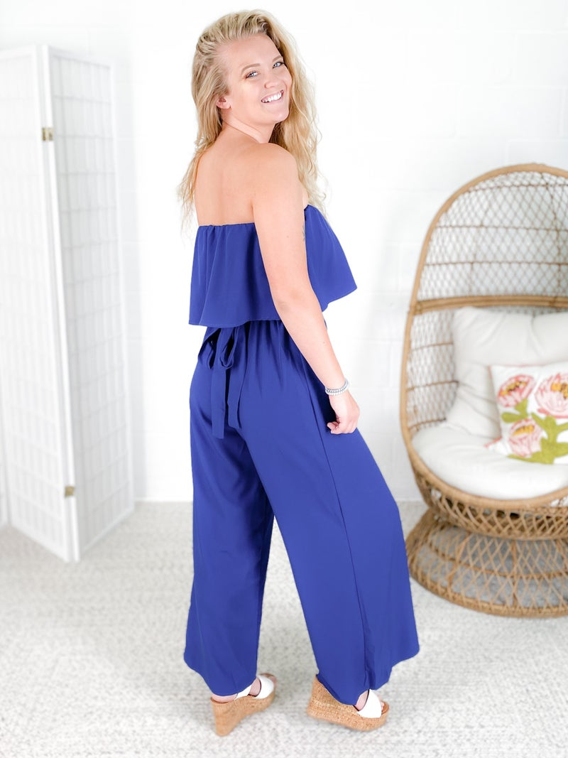 Woven Sleeveless Jumpsuit with Waist Tie (Multiple Colors)