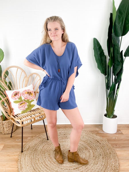 Flounce Hem Batwing Romper (Multiple Colors)