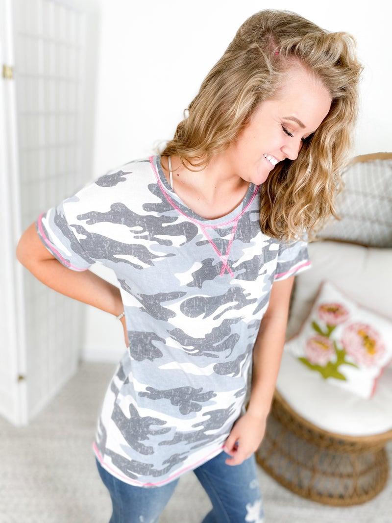 PLUS/REG Honeyme Grey Camo Top with Pink Stitching Detail