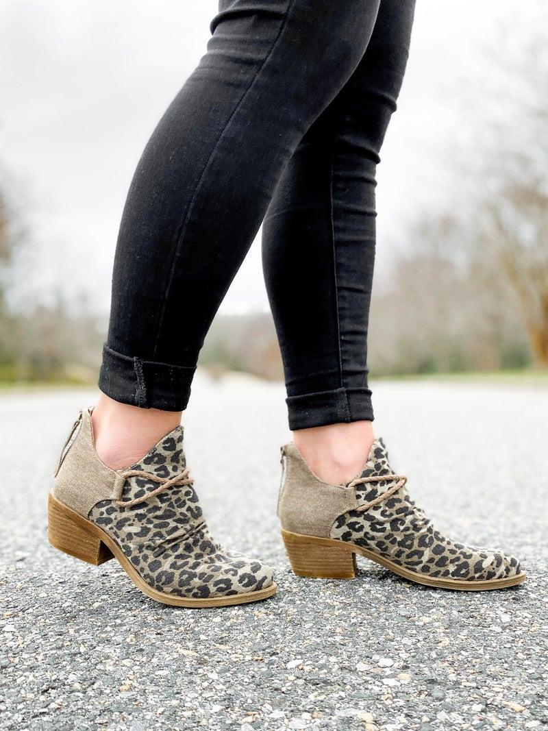 Canvas Leopard Booties