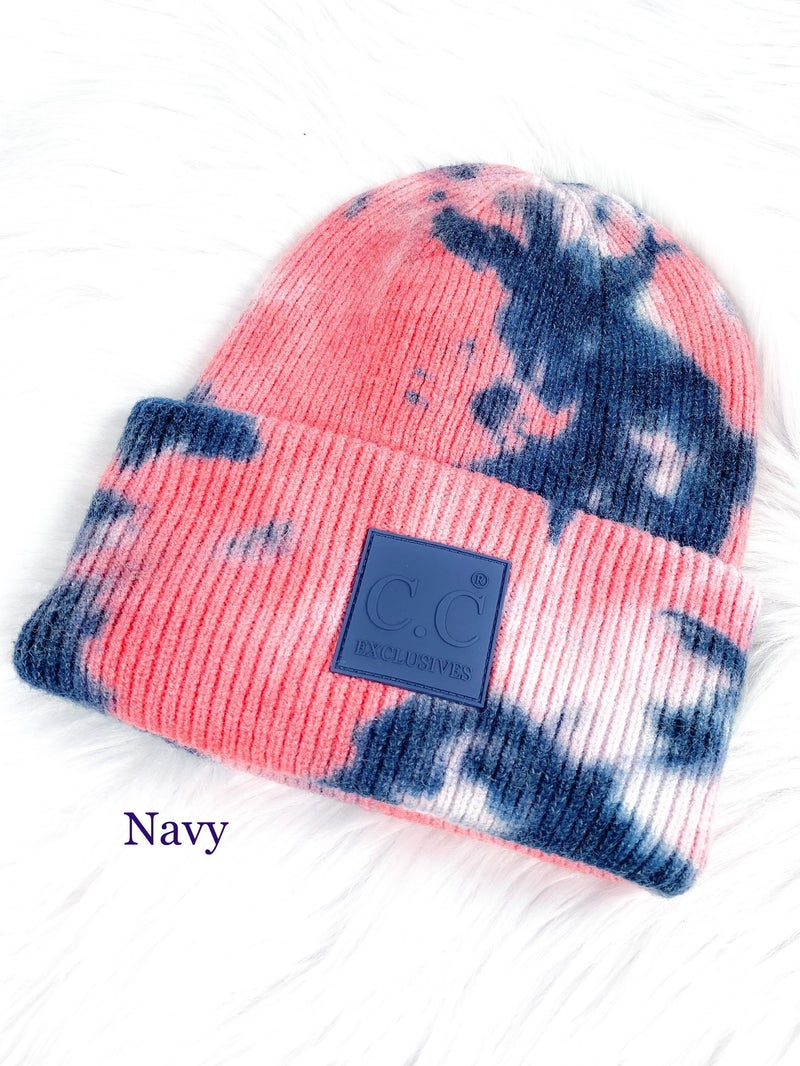 CC Tie Dye Beanie with Rubber Patch (Multiple Colors)