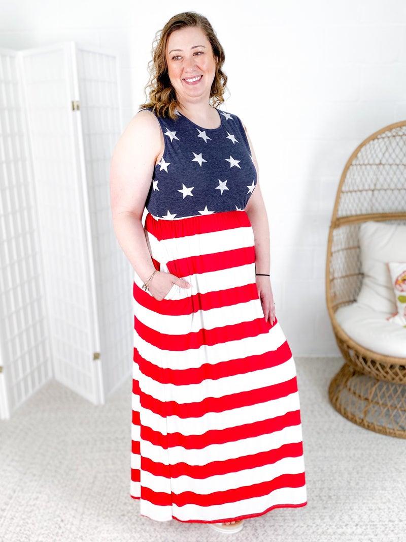 PLUS/REG Stars & Stripes Maxi Dress