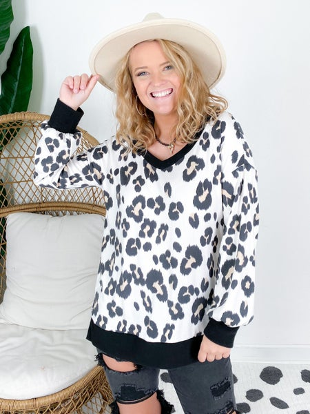 PLUS/REG Honeyme Ivory Leopard Top