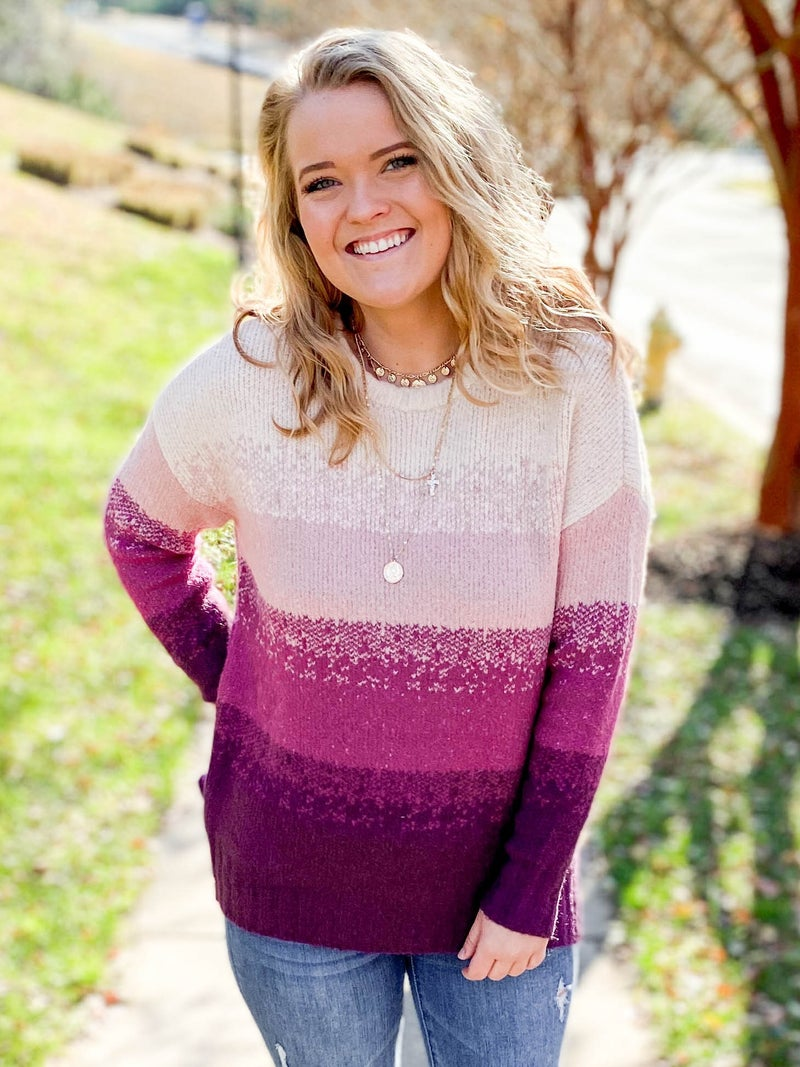Plum & Magenta Color Block Sweater