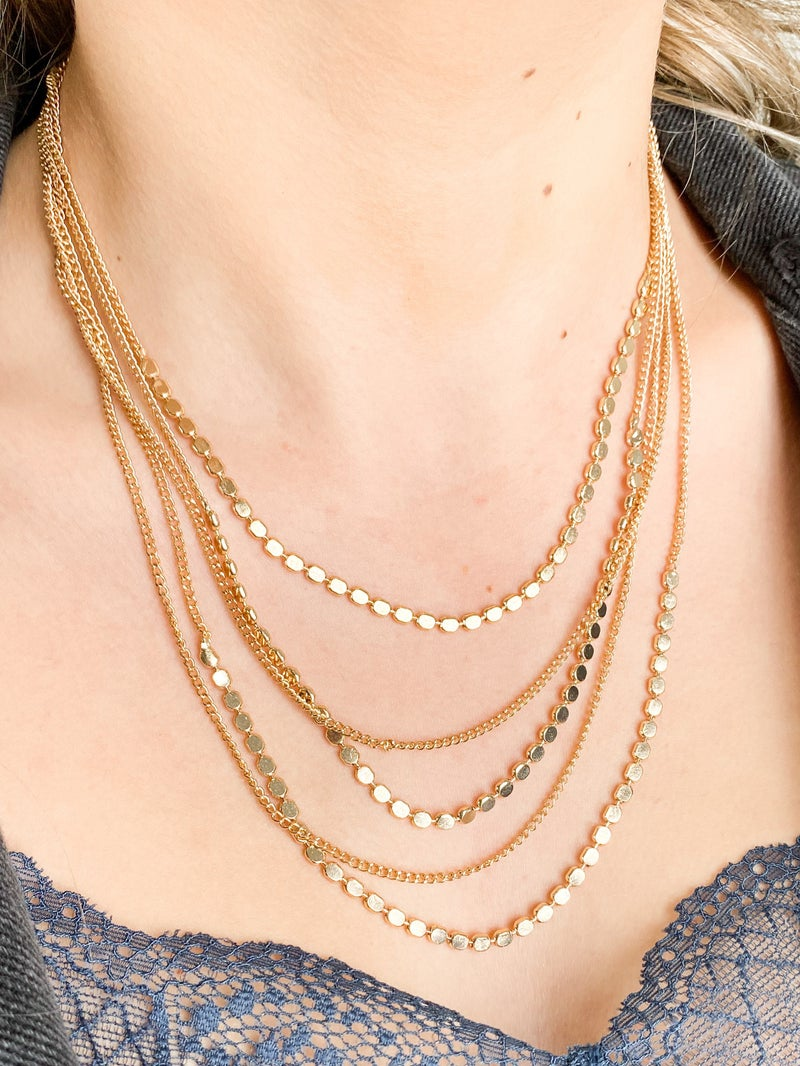 Multi Strand Chain Layered Necklace (Multiple Colors)