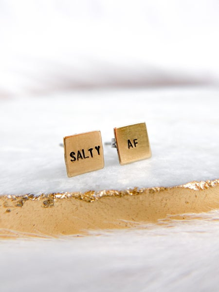 RESTOCKED! Salty AF Hand Stamped Earrings