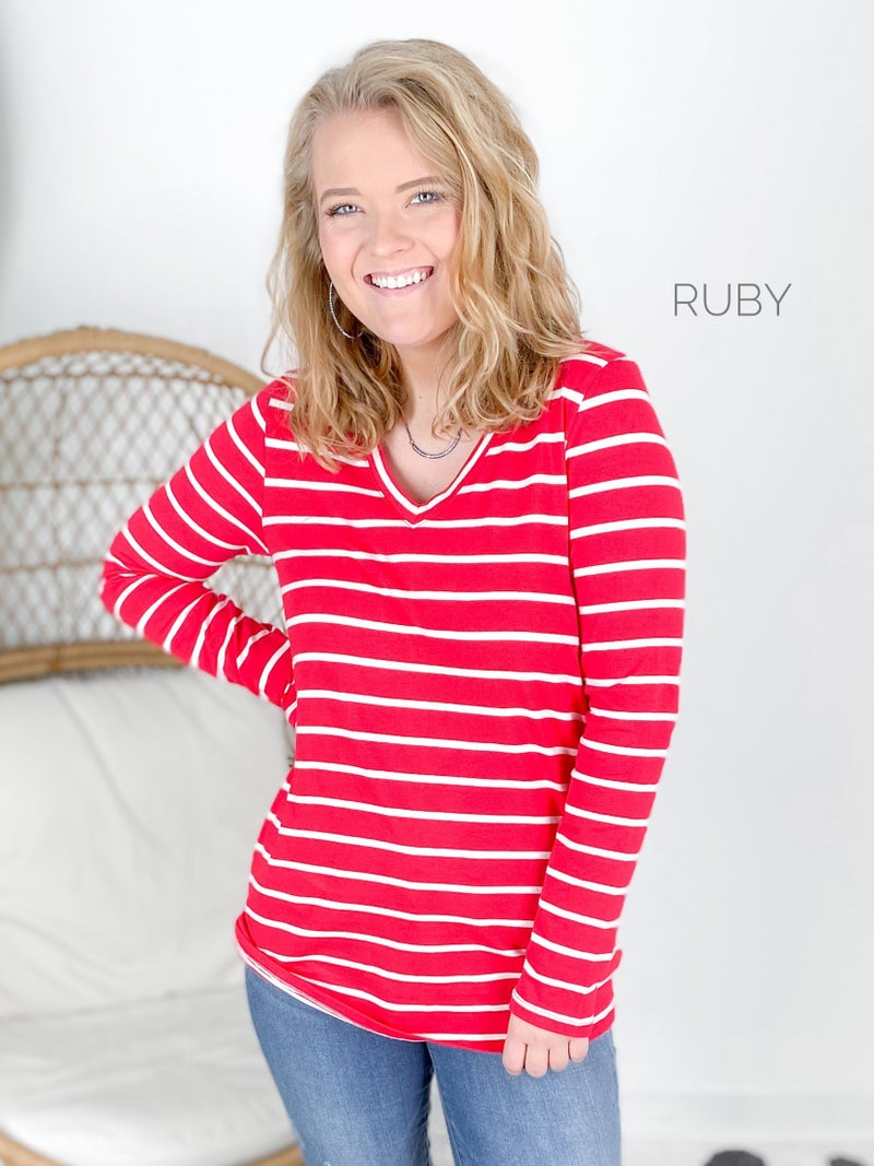 Door Buster! Zenana Striped V Neck Long Sleeve Top (Multiple Colors)