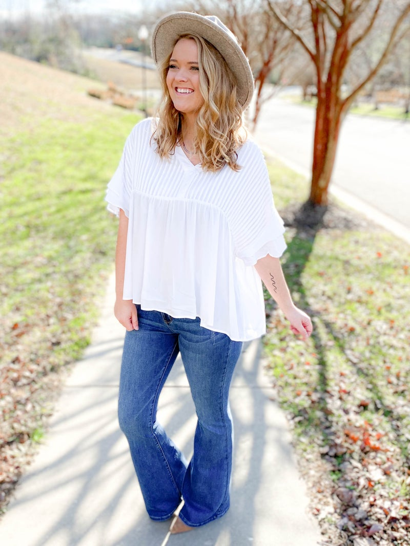 Pleated Solid Top With Flare Sleeve (Multiple Colors)