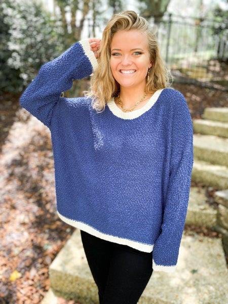 Popcorn Textured Contrast Rib Knit Sweater