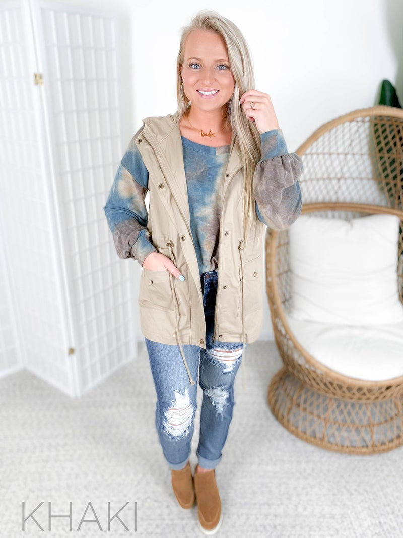 Door Buster!! PLUS/REG Zenana Military Vest with Drawstring Waist (Multiple Colors)