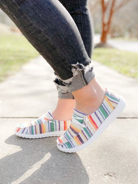 Hey Girl White Slip On Sneakers With Multi Color Stripe