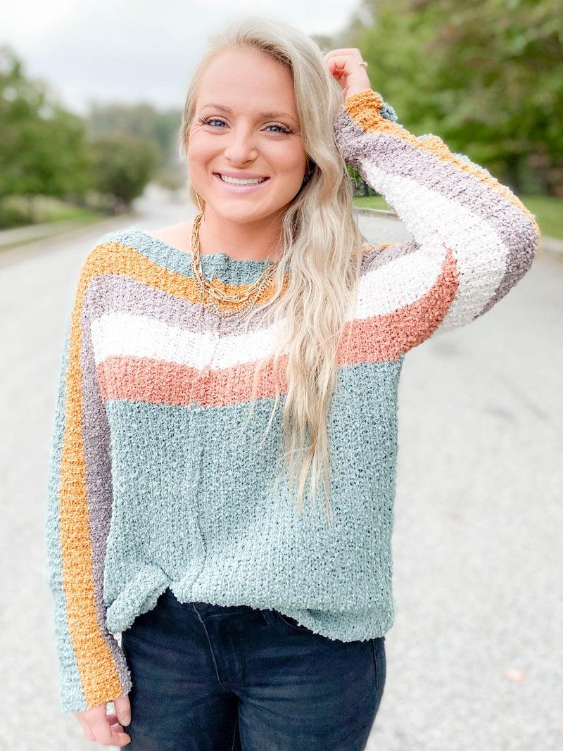 Popcorn Multi Color Boatneck Pullover Sweater (Multiple Colors)