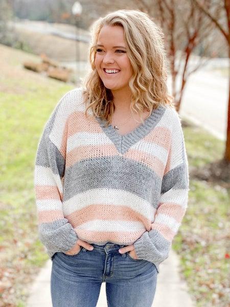 Multi Color Stripe V Neck Sweater (Multiple Colors)