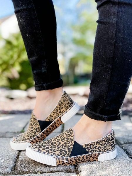 Leopard Low Top Slip On Sneakers