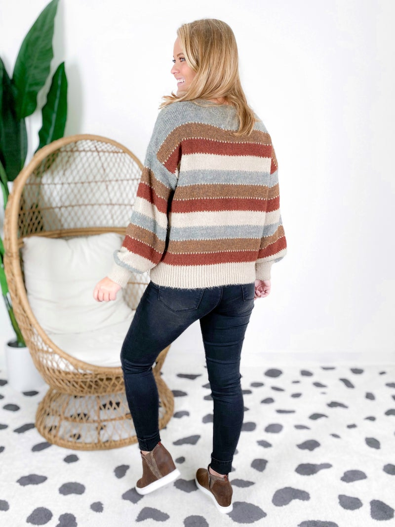 PLUS/REG Earth Tone Stripe Sweater With Sparkle Detail (Multiple Colors)