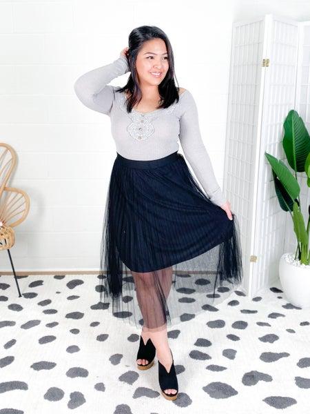 Tulle Chiffon Flowing Hem Midi Skirt (Multiple Colors)